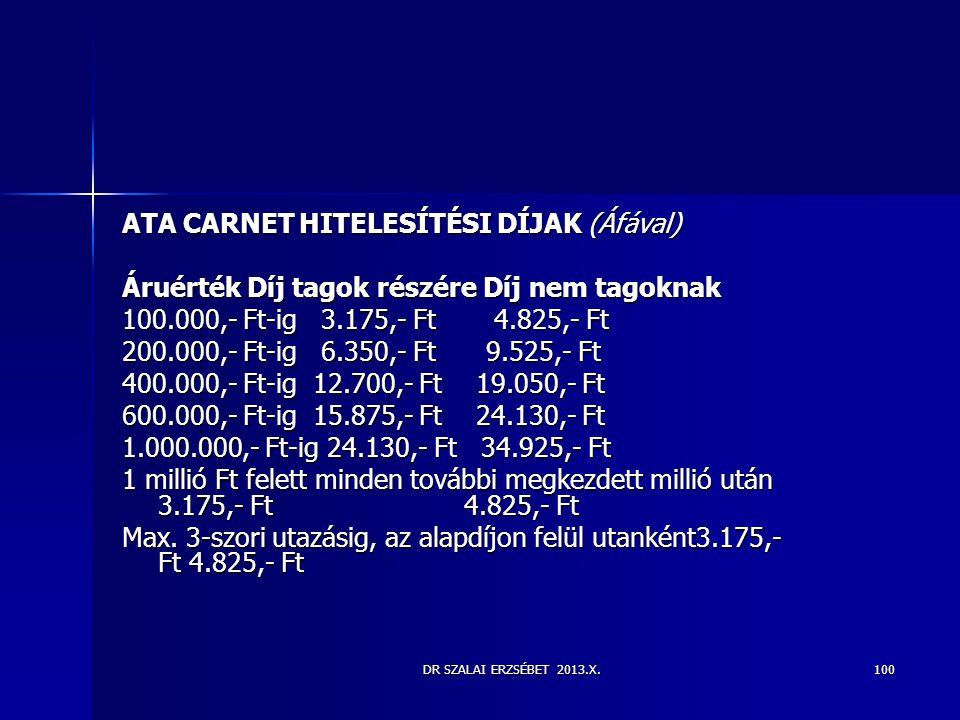 DR SZALAI ERZSÉBET 2013.X.100 ATA CARNET HITELESÍTÉSI DÍJAK (Áfával) Áruérték Díj tagok részére Díj nem tagoknak 100.000,- Ft-ig 3.175,- Ft 4.825,- Ft