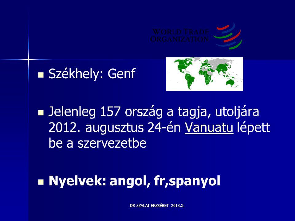 DR SZALAI ERZSÉBET 2013.X.   Székhely: Genf   Jelenleg 157 ország a tagja, utoljára 2012. augusztus 24-én Vanuatu lépett be a szervezetbeVanuatu 