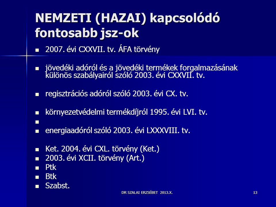 DR SZALAI ERZSÉBET 2013.X.13 NEMZETI (HAZAI) kapcsolódó fontosabb jsz-ok   2007. évi CXXVII. tv. ÁFA törvény   jövedéki adóról és a jövedéki termé