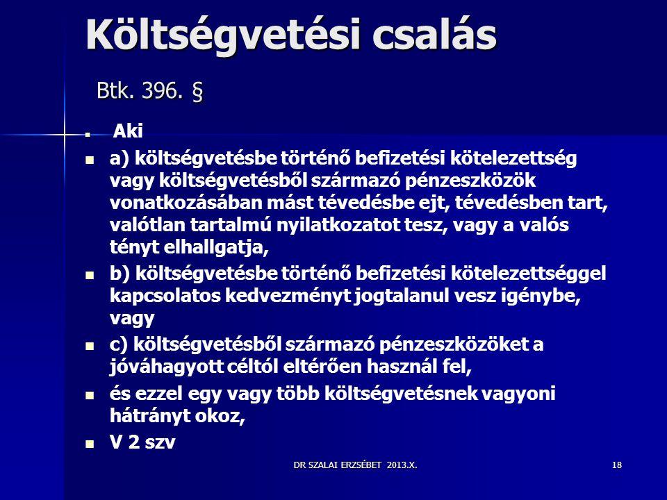 DR SZALAI ERZSÉBET 2013.X. Költségvetési csalás Btk. 396. §   Aki   a) költségvetésbe történő befizetési kötelezettség vagy költségvetésből szárma
