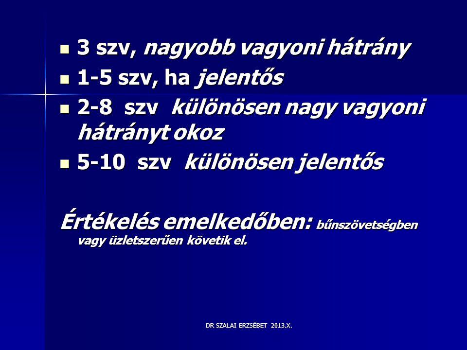 DR SZALAI ERZSÉBET 2013.X.  3 szv, nagyobb vagyoni hátrány  1-5 szv, ha jelentős  2-8 szv különösen nagy vagyoni hátrányt okoz  5-10 szv különösen