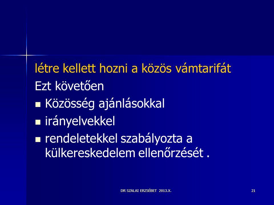 DR SZALAI ERZSÉBET 2013.X.21 létre kellett hozni a közös vámtarifát Ezt követően   Közösség ajánlásokkal   irányelvekkel   rendeletekkel szabály