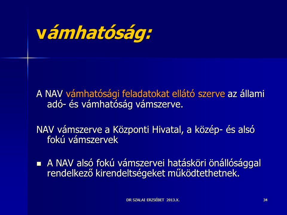 DR SZALAI ERZSÉBET 2013.X.34 vámhatóság: A NAV vámhatósági feladatokat ellátó szerve az állami adó- és vámhatóság vámszerve. NAV vámszerve a Központi