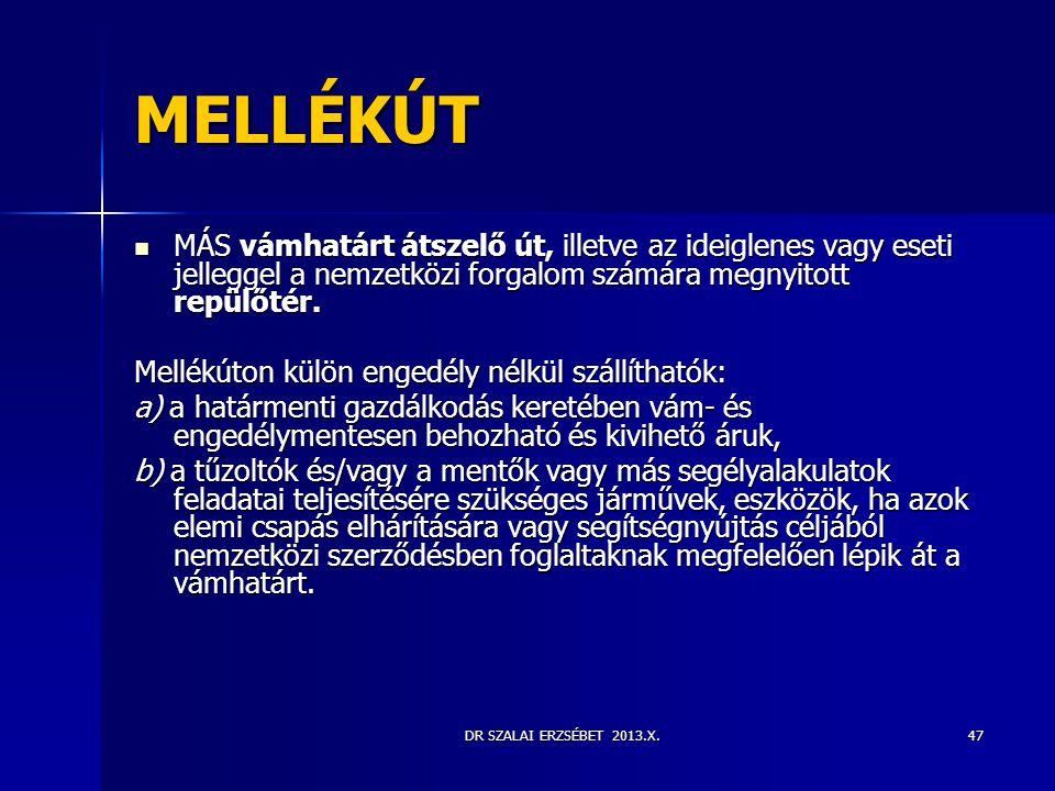 DR SZALAI ERZSÉBET 2013.X.47 MELLÉKÚT  MÁS vámhatárt átszelő út, illetve az ideiglenes vagy eseti jelleggel a nemzetközi forgalom számára megnyitott