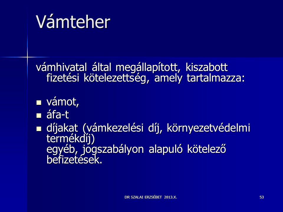 DR SZALAI ERZSÉBET 2013.X.53 Vámteher vámhivatal által megállapított, kiszabott fizetési kötelezettség, amely tartalmazza:  vámot,  áfa-t  díjakat