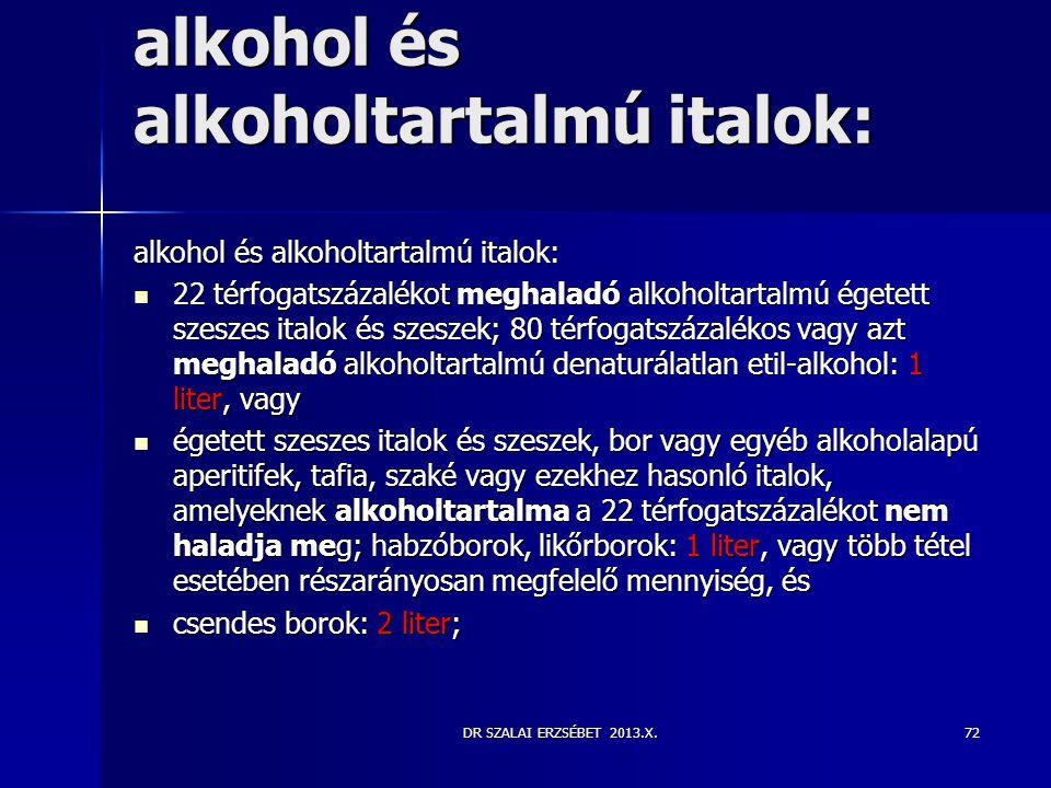 DR SZALAI ERZSÉBET 2013.X. alkohol és alkoholtartalmú italok:  22 térfogatszázalékot meghaladó alkoholtartalmú égetett szeszes italok és szeszek; 80