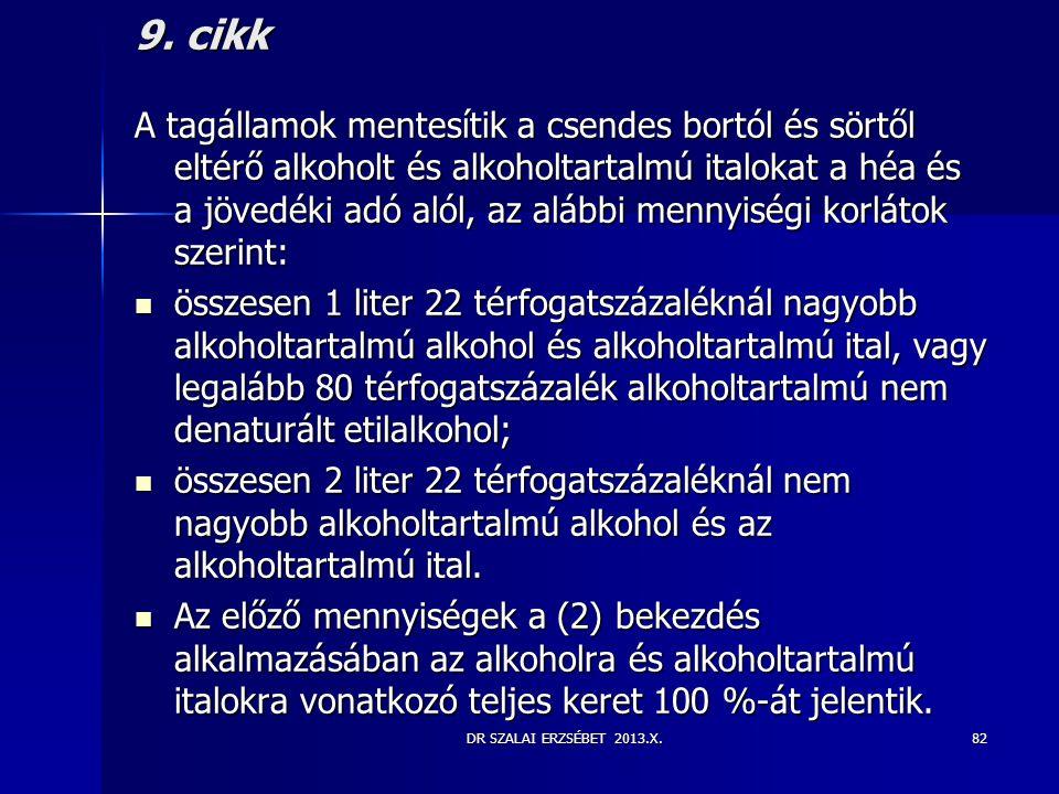 DR SZALAI ERZSÉBET 2013.X. 9. cikk A tagállamok mentesítik a csendes bortól és sörtől eltérő alkoholt és alkoholtartalmú italokat a héa és a jövedéki