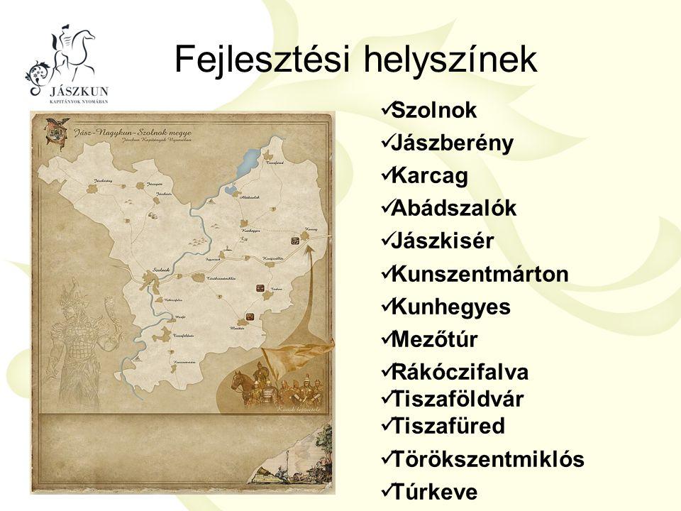 Fejlesztési helyszínek  Szolnok  Jászberény  Karcag  Abádszalók  Jászkisér  Kunszentmárton  Kunhegyes  Mezőtúr  Rákóczifalva  Tiszaföldvár 