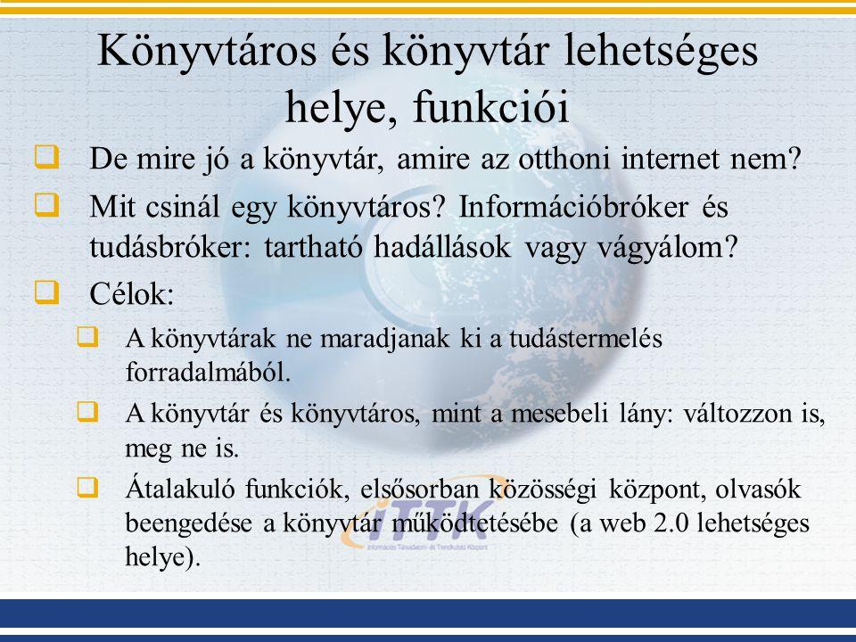 Könyvtáros és könyvtár lehetséges helye, funkciói  De mire jó a könyvtár, amire az otthoni internet nem.