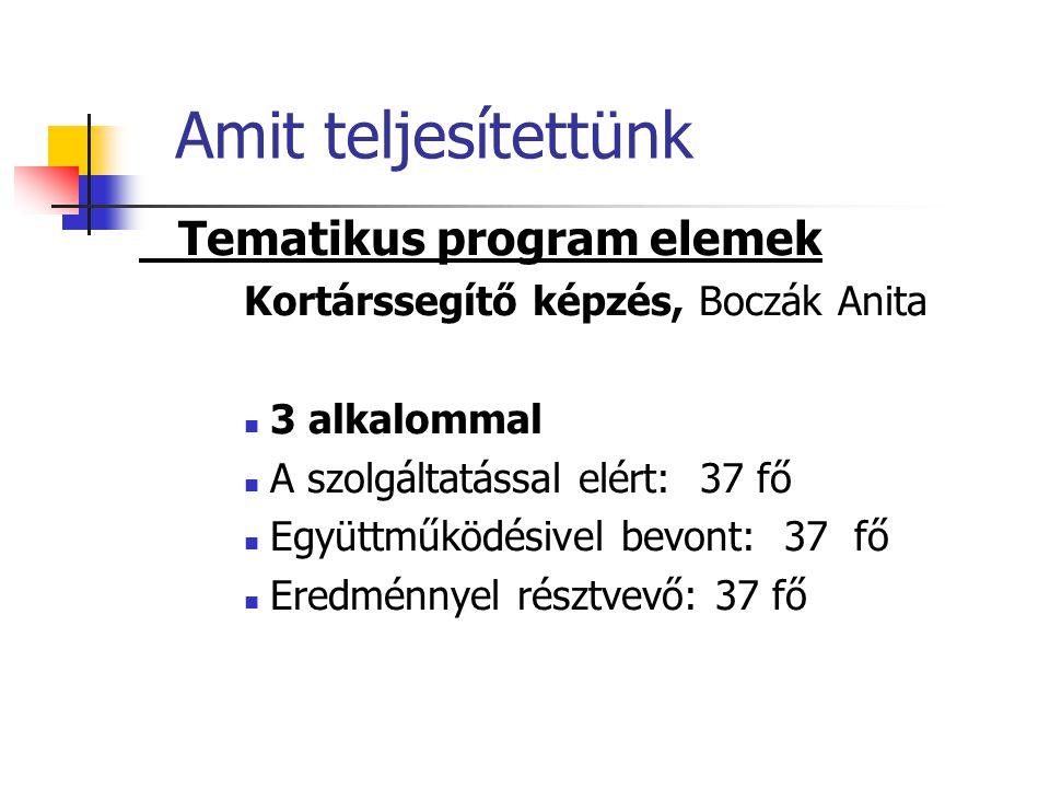 Amit teljesítettünk Tematikus program elemek Kortárssegítő képzés, Boczák Anita  3 alkalommal  A szolgáltatással elért: 37 fő  Együttműködésivel bevont: 37 fő  Eredménnyel résztvevő: 37 fő