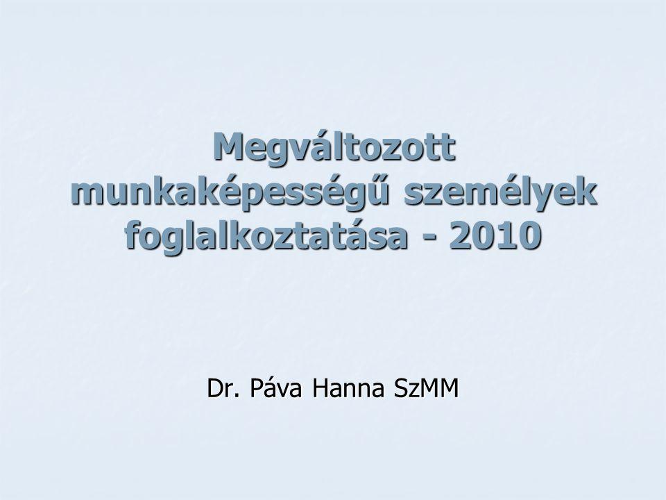 Megváltozott munkaképességű személyek foglalkoztatása - 2010 Dr. Páva Hanna SzMM