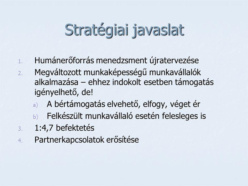 Stratégiai javaslat 1. Humánerőforrás menedzsment újratervezése 2. Megváltozott munkaképességű munkavállalók alkalmazása – ehhez indokolt esetben támo