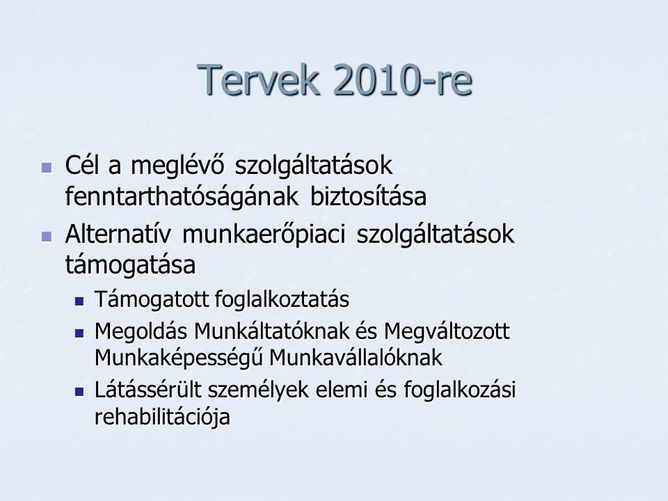 Tervek 2010-re  Cél a meglévő szolgáltatások fenntarthatóságának biztosítása  Alternatív munkaerőpiaci szolgáltatások támogatása  Támogatott foglal