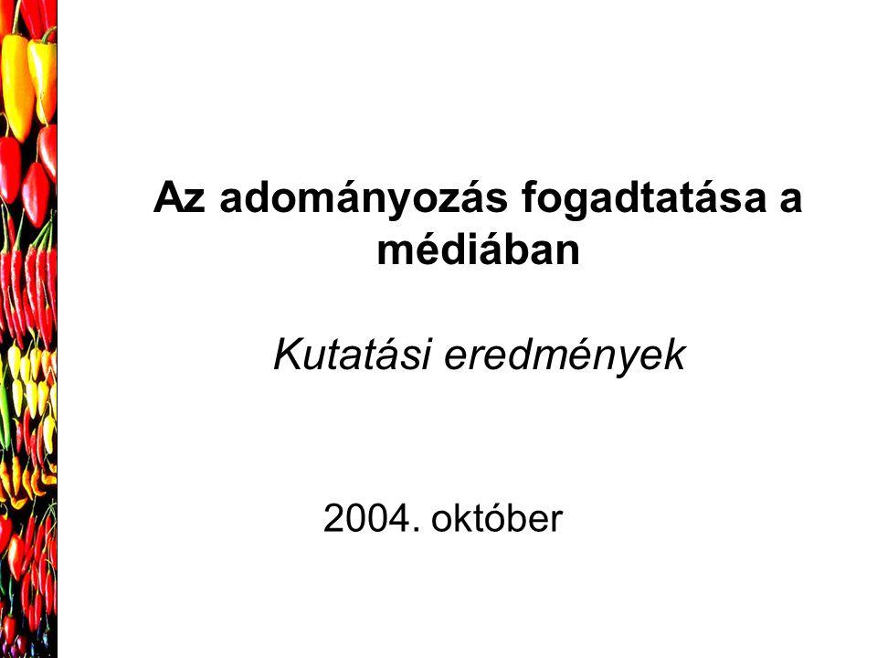 Az adományozás fogadtatása a médiában Kutatási eredmények 2004. október
