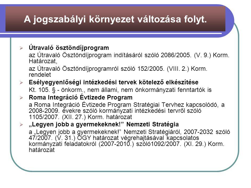  Útravaló ösztöndíjprogram az Útravaló Ösztöndíjprogram indításáról szóló 2086/2005. (V. 9.) Korm. Határozat, az Útravaló Ösztöndíjprogramról szóló 1