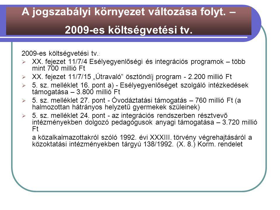 """2009-es költségvetési tv. :  XX. fejezet 11/7/4 Esélyegyenlőségi és integrációs programok – több mint 700 millió Ft  XX. fejezet 11/7/15 """"Útravaló"""""""