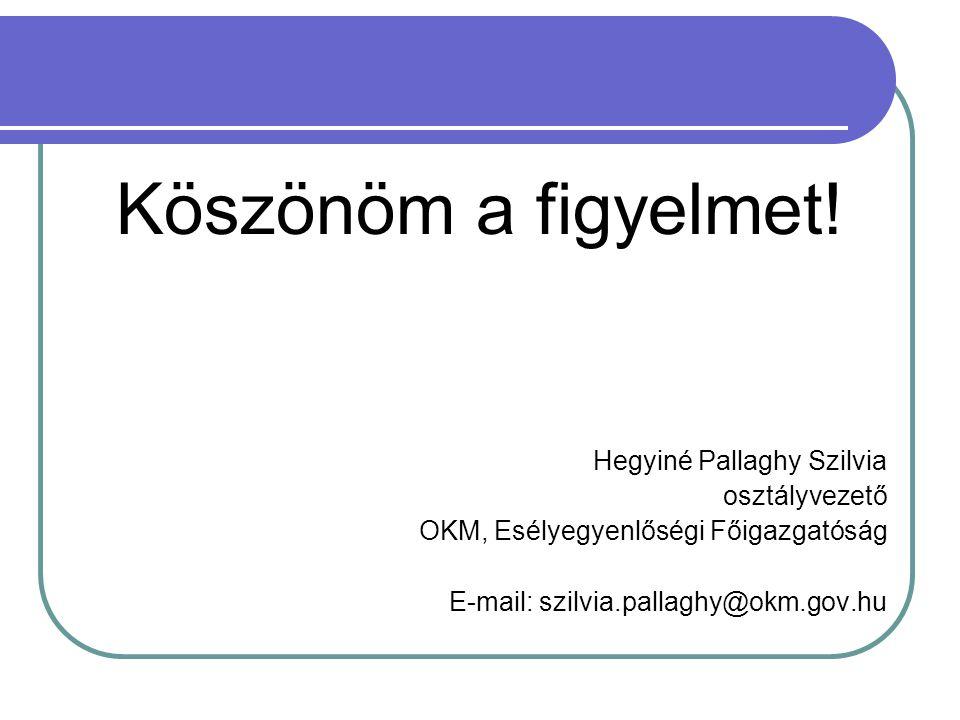 Köszönöm a figyelmet! Hegyiné Pallaghy Szilvia osztályvezető OKM, Esélyegyenlőségi Főigazgatóság E-mail: szilvia.pallaghy@okm.gov.hu