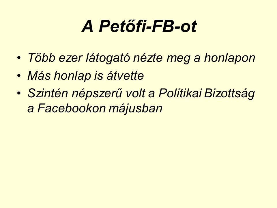 A Petőfi-FB-ot •Több ezer látogató nézte meg a honlapon •Más honlap is átvette •Szintén népszerű volt a Politikai Bizottság a Facebookon májusban