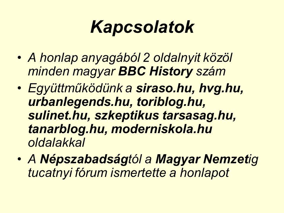 Kapcsolatok •A honlap anyagából 2 oldalnyit közöl minden magyar BBC History szám •Együttműködünk a siraso.hu, hvg.hu, urbanlegends.hu, toriblog.hu, sulinet.hu, szkeptikus tarsasag.hu, tanarblog.hu, moderniskola.hu oldalakkal •A Népszabadságtól a Magyar Nemzetig tucatnyi fórum ismertette a honlapot