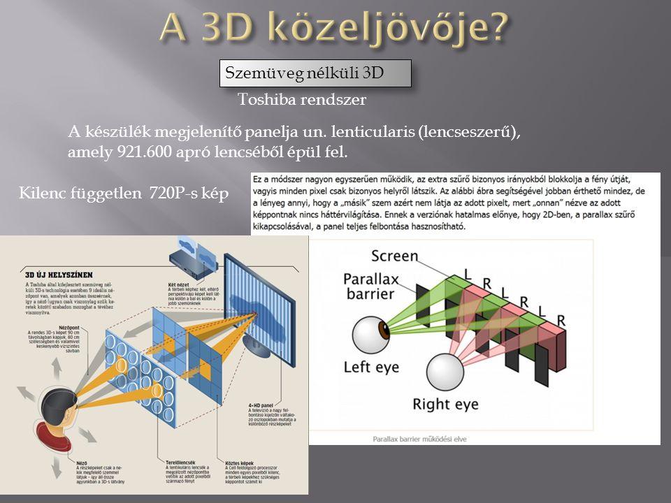 Toshiba rendszer Szemüveg nélküli 3D Kilenc független 720P-s kép A készülék megjelenítő panelja un.