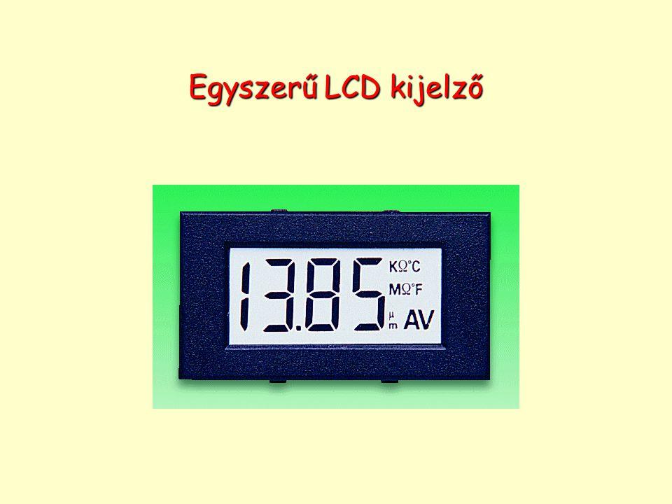 LCD kijelző – passzív mátrix Passzív kijelzőkben átlátszó, párhuzamos vezetékekből alakítanak ki mátrixot úgy, hogy a hátlapon és az előlapon futó vezetékek egymásra merőlegesek.