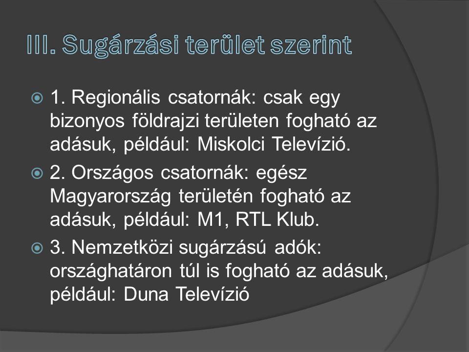  1. Regionális csatornák: csak egy bizonyos földrajzi területen fogható az adásuk, például: Miskolci Televízió.  2. Országos csatornák: egész Magyar