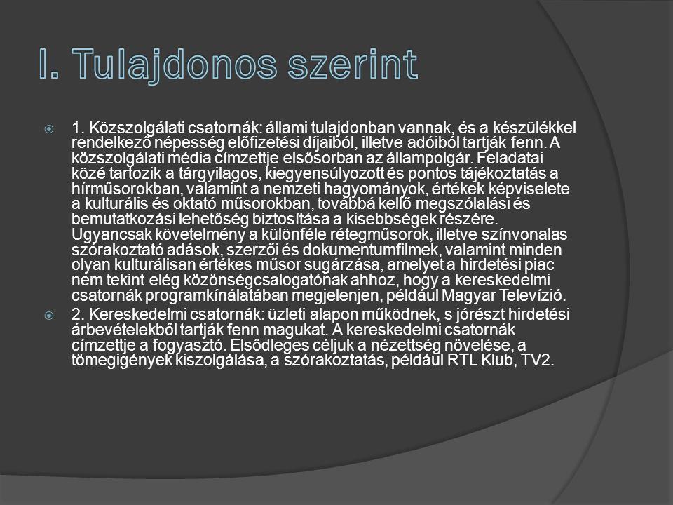  1.Földi sugárzás: Magyarországon a legtöbb televízióadó földi sugárzású  2.
