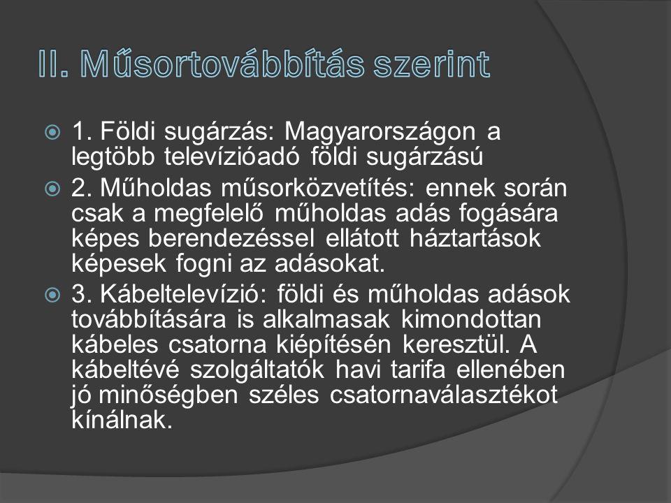  1. Földi sugárzás: Magyarországon a legtöbb televízióadó földi sugárzású  2. Műholdas műsorközvetítés: ennek során csak a megfelelő műholdas adás f