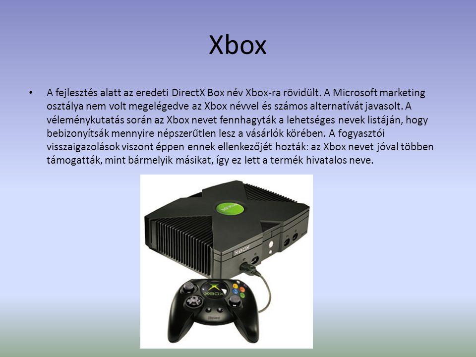 Xbox • A fejlesztés alatt az eredeti DirectX Box név Xbox-ra rövidült.
