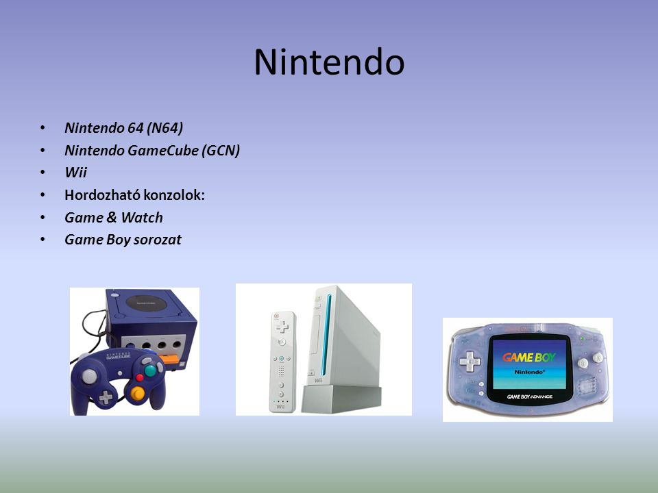 Nintendo • Nintendo 64 (N64) • Nintendo GameCube (GCN) • Wii • Hordozható konzolok: • Game & Watch • Game Boy sorozat
