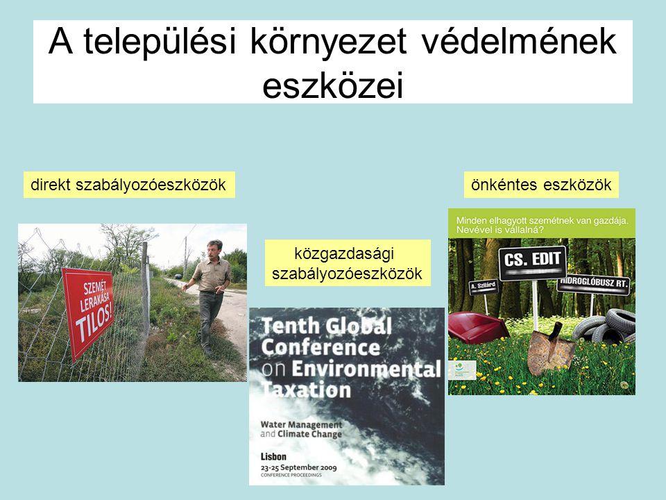 A települési környezet védelmének eszközei direkt szabályozóeszközök közgazdasági szabályozóeszközök önkéntes eszközök