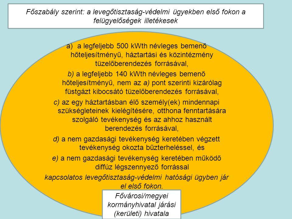 a)a legfeljebb 500 kWth névleges bemenő hőteljesítményű, háztartási és közintézmény tüzelőberendezés forrásával, b) a legfeljebb 140 kWth névleges bem