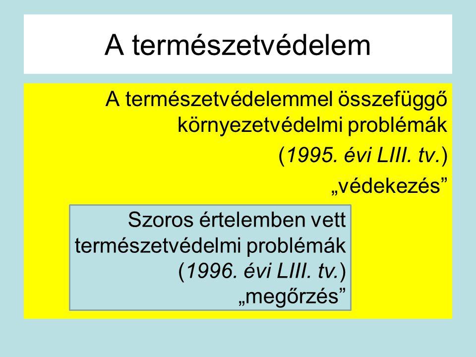 """A természetvédelem A természetvédelemmel összefüggő környezetvédelmi problémák (1995. évi LIII. tv.) """"védekezés"""" Szoros értelemben vett természetvédel"""