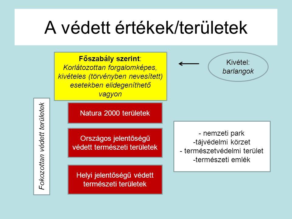 A védett értékek/területek Főszabály szerint: Korlátozottan forgalomképes, kivételes (törvényben nevesített) esetekben elidegeníthető vagyon Natura 20