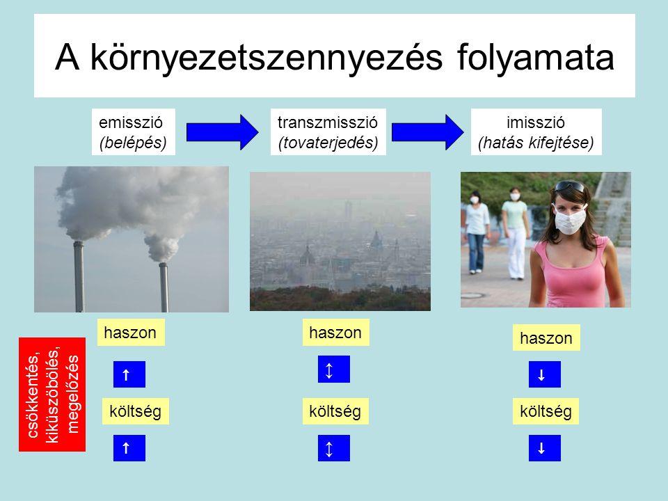 A környezetszennyezés folyamata emisszió (belépés) transzmisszió (tovaterjedés) imisszió (hatás kifejtése) haszon költség haszon költség ↑↓ ↕ ↕ ↓↑ csö