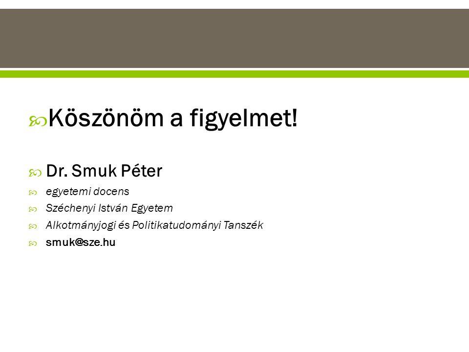  Köszönöm a figyelmet!  Dr. Smuk Péter  egyetemi docens  Széchenyi István Egyetem  Alkotmányjogi és Politikatudományi Tanszék  smuk@sze.hu