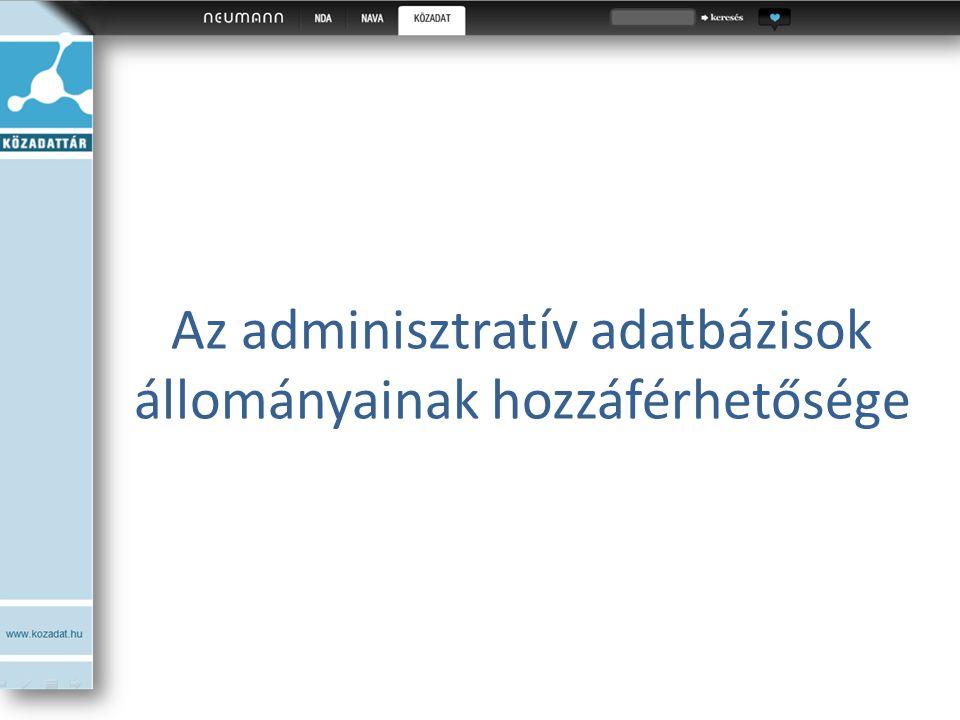 Az adminisztratív adatbázisok állományainak hozzáférhetősége