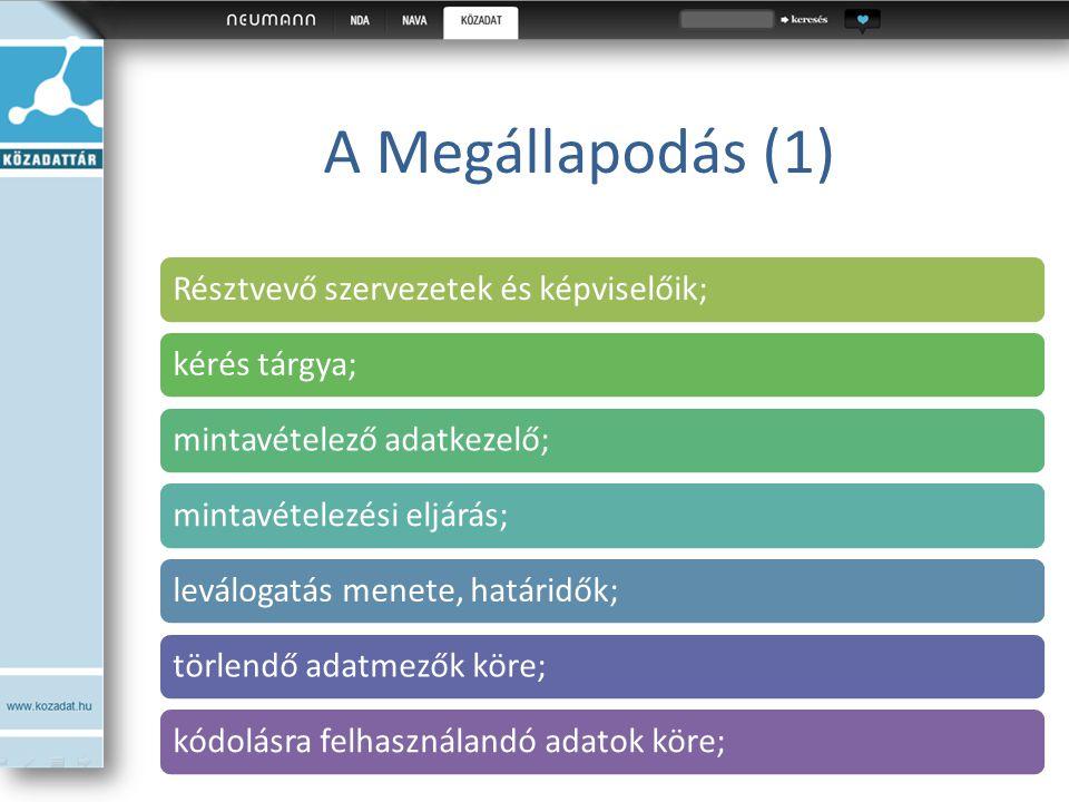A Megállapodás (1) Résztvevő szervezetek és képviselőik;kérés tárgya;mintavételező adatkezelő;mintavételezési eljárás;leválogatás menete, határidők;tö