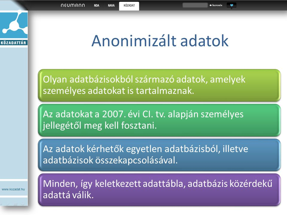 Anonimizált adatok Olyan adatbázisokból származó adatok, amelyek személyes adatokat is tartalmaznak. Az adatokat a 2007. évi CI. tv. alapján személyes