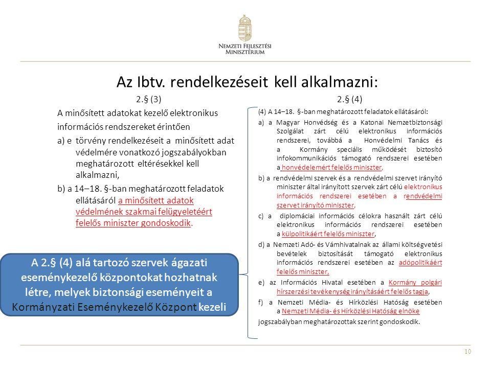 10 Az Ibtv. rendelkezéseit kell alkalmazni: 2.§ (3) A minősített adatokat kezelő elektronikus információs rendszereket érintően a) e törvény rendelkez