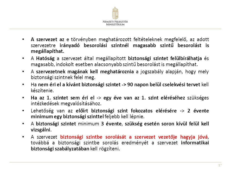 17 • A szervezet az e törvényben meghatározott feltételeknek megfelelő, az adott szervezetre irányadó besorolási szintnél magasabb szintű besorolást i