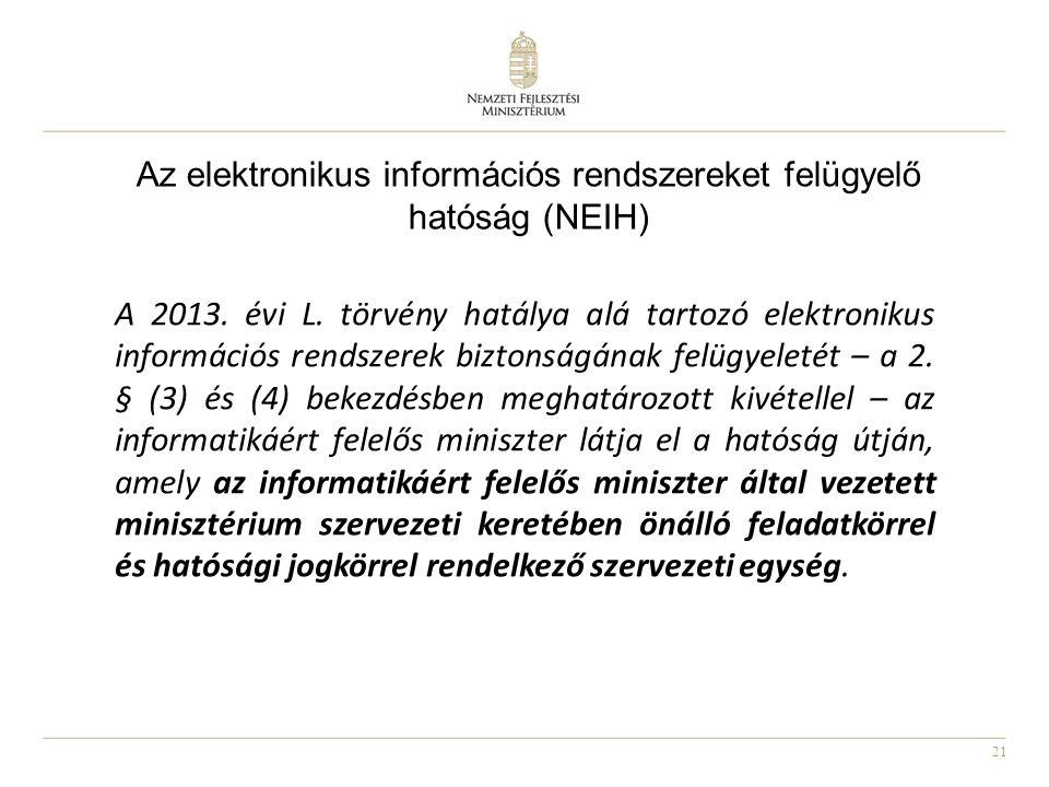 21 Az elektronikus információs rendszereket felügyelő hatóság (NEIH) A 2013. évi L. törvény hatálya alá tartozó elektronikus információs rendszerek bi