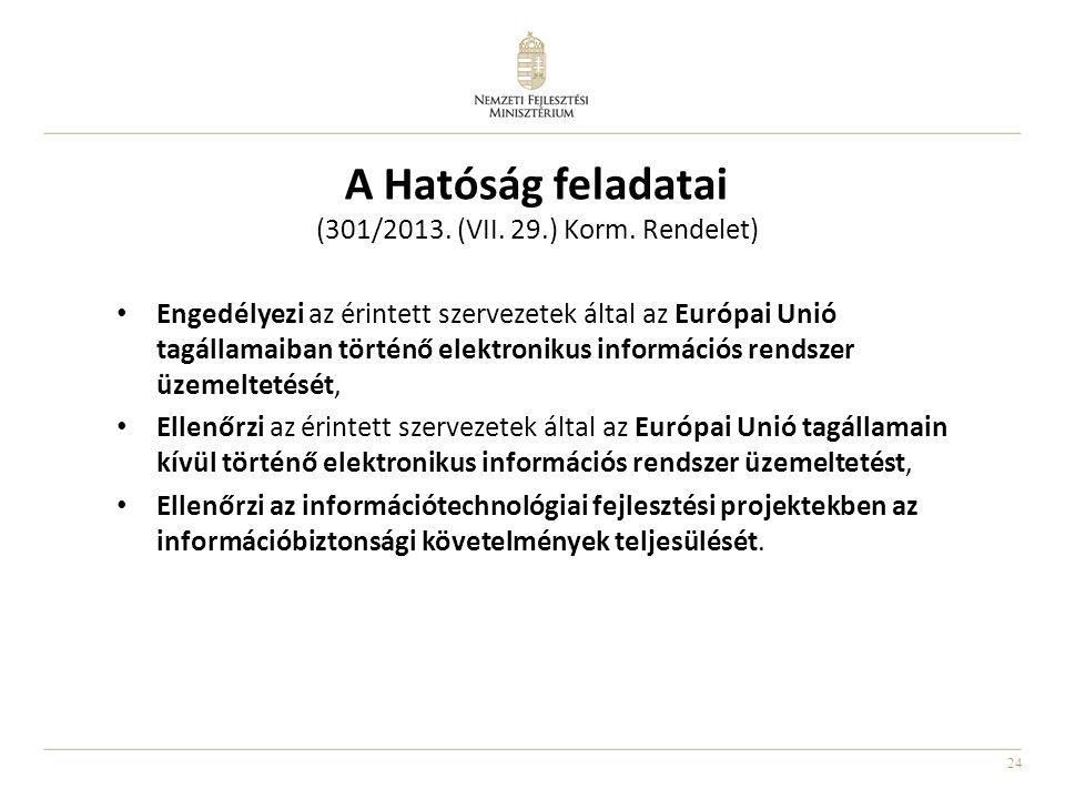 24 A Hatóság feladatai (301/2013. (VII. 29.) Korm. Rendelet) • Engedélyezi az érintett szervezetek által az Európai Unió tagállamaiban történő elektro