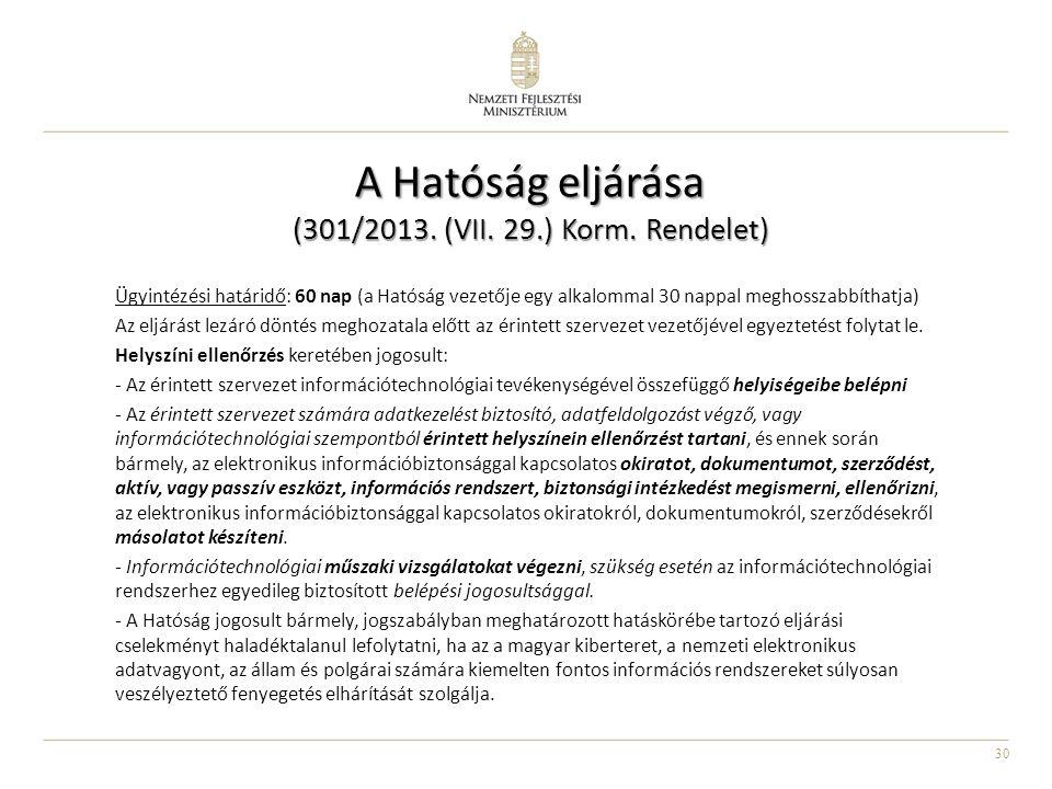 30 A Hatóság eljárása (301/2013. (VII. 29.) Korm. Rendelet) Ügyintézési határidő: 60 nap (a Hatóság vezetője egy alkalommal 30 nappal meghosszabbíthat