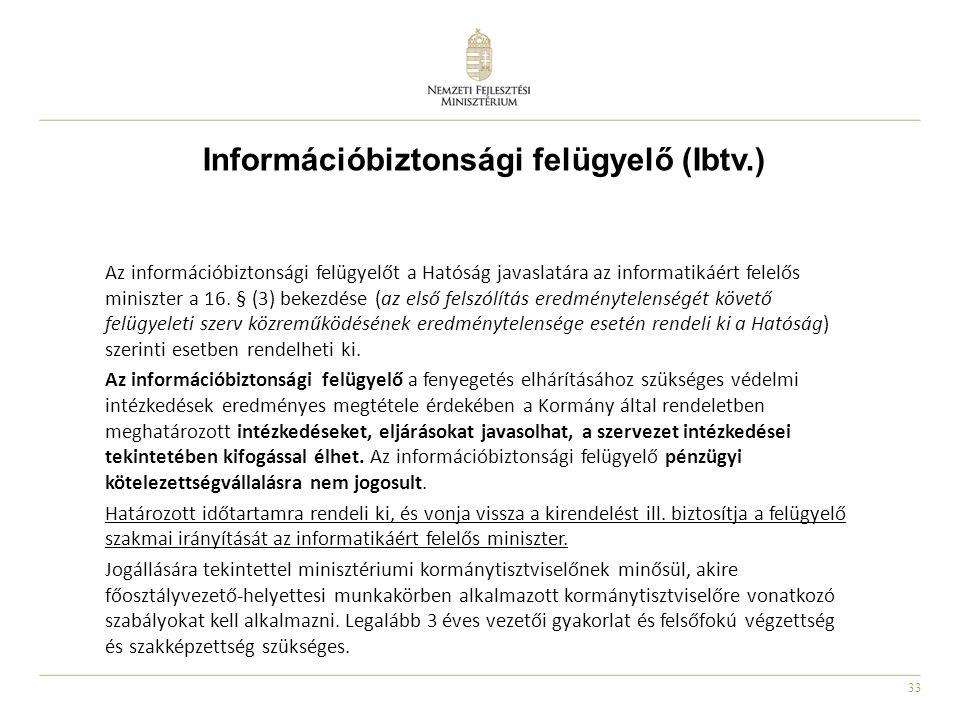 33 Információbiztonsági felügyelő (Ibtv.) Az információbiztonsági felügyelőt a Hatóság javaslatára az informatikáért felelős miniszter a 16. § (3) bek