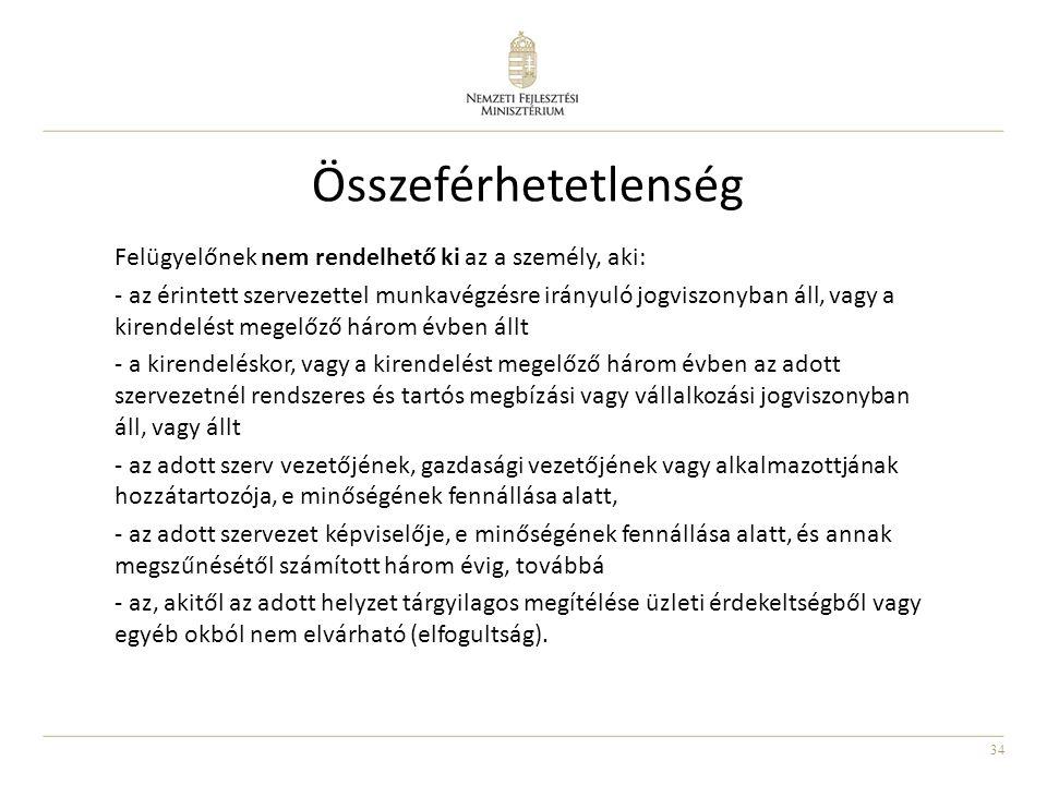 34 Összeférhetetlenség Felügyelőnek nem rendelhető ki az a személy, aki: - az érintett szervezettel munkavégzésre irányuló jogviszonyban áll, vagy a k