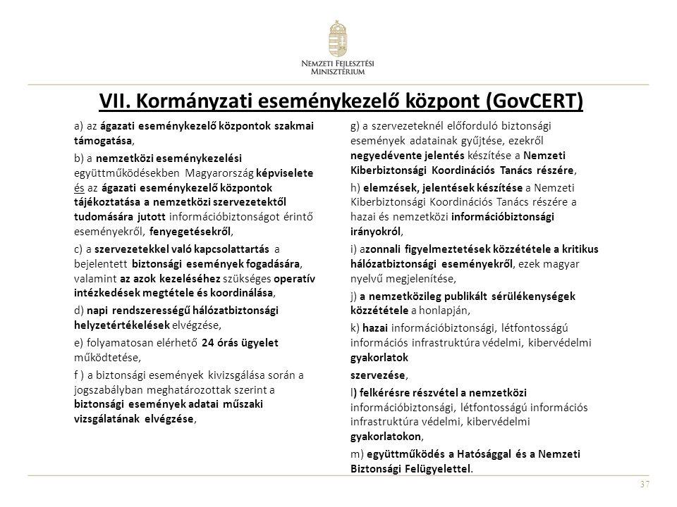 37 VII. Kormányzati eseménykezelő központ (GovCERT) a) az ágazati eseménykezelő központok szakmai támogatása, b) a nemzetközi eseménykezelési együttmű