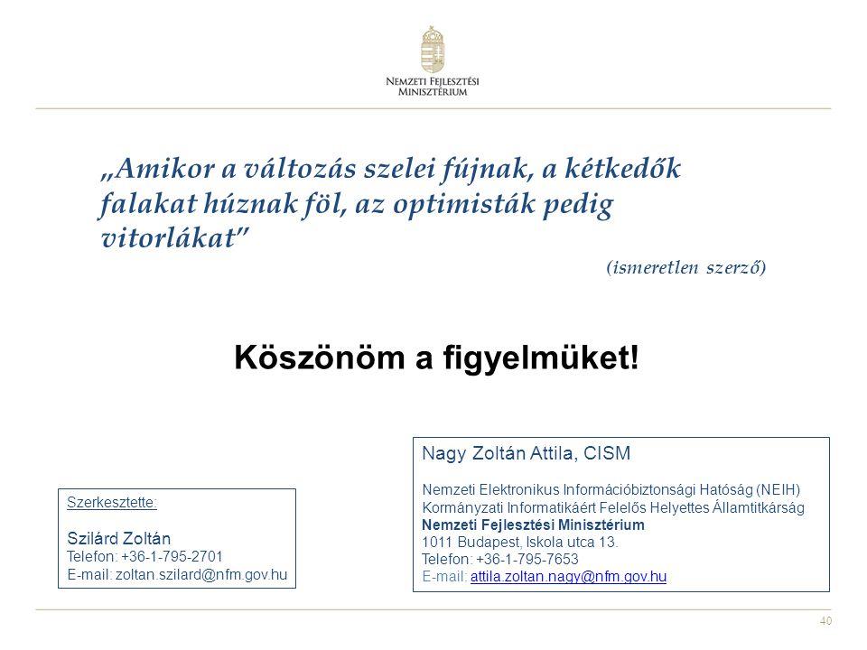 40 Köszönöm a figyelmüket! Nagy Zoltán Attila, CISM Nemzeti Elektronikus Információbiztonsági Hatóság (NEIH) Kormányzati Informatikáért Felelős Helyet
