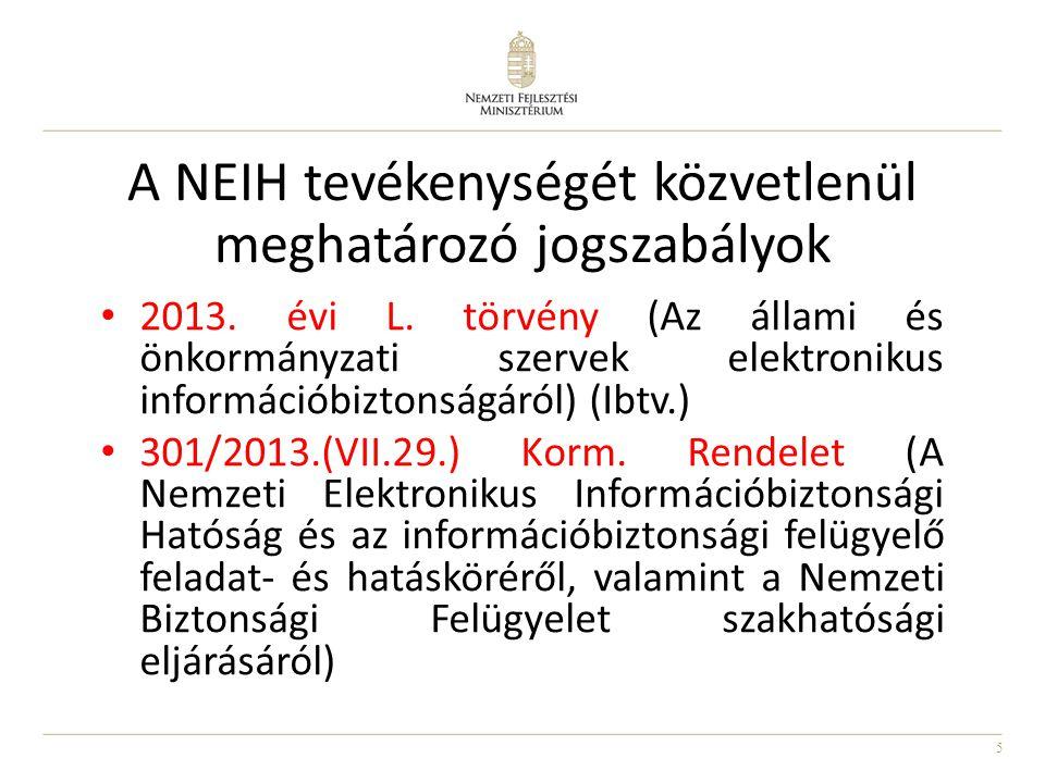 5 • 2013. évi L. törvény (Az állami és önkormányzati szervek elektronikus információbiztonságáról) (Ibtv.) • 301/2013.(VII.29.) Korm. Rendelet (A Nemz