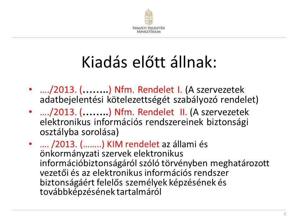 6 • …./2013. ( …….. ) Nfm. Rendelet I. (A szervezetek adatbejelentési kötelezettségét szabályozó rendelet) • …./2013. ( …….. ) Nfm. Rendelet II. (A sz
